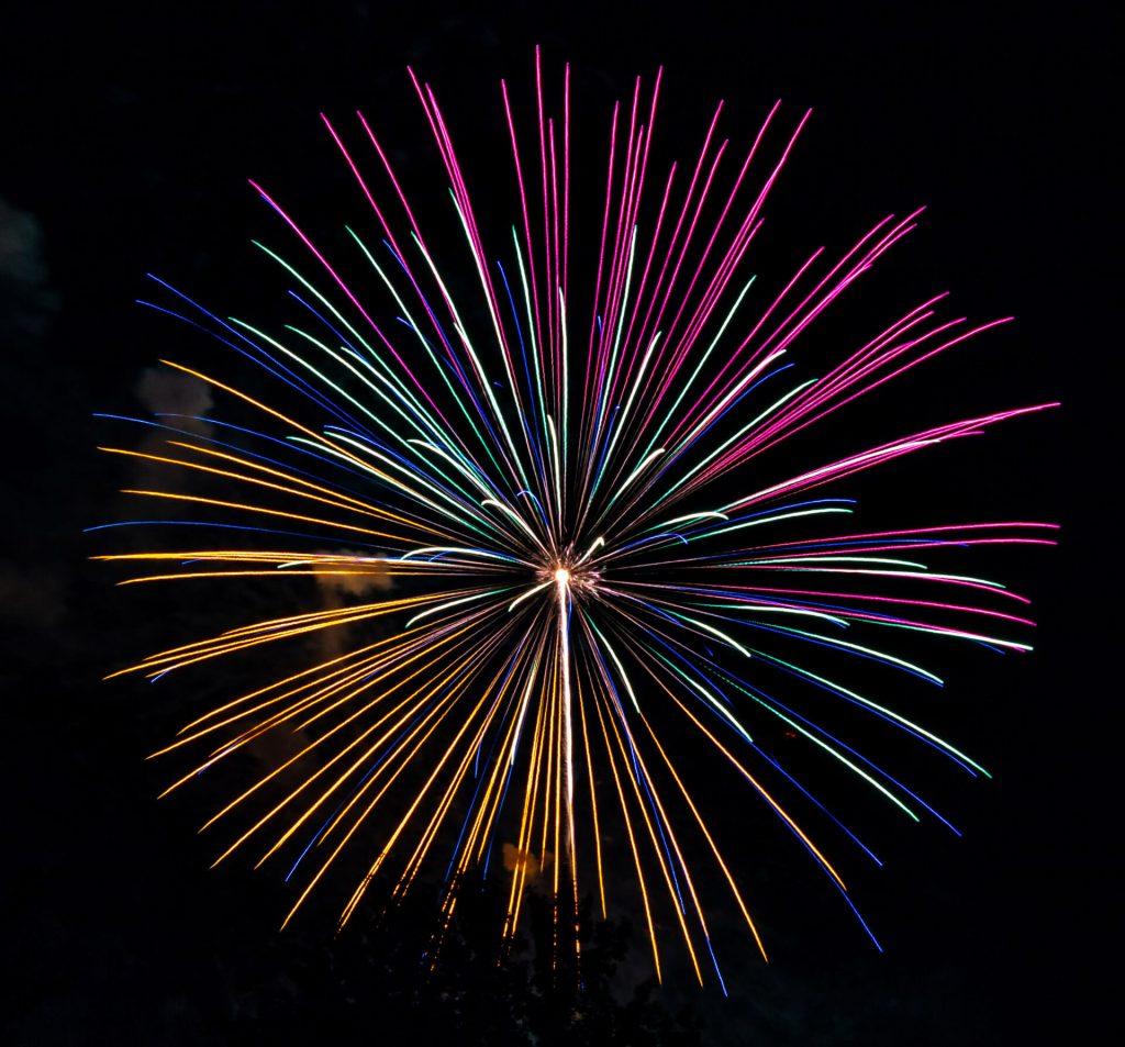 Multi colored fireworks